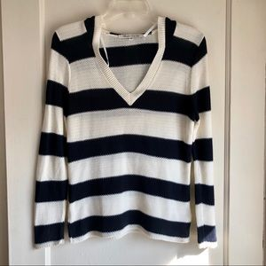 American Rag Striped V-Neck Hooded Sweater